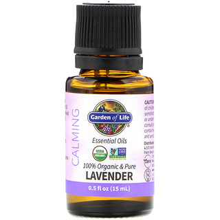 Garden of Life, 100% Organic & Pure, Essential Oils, Calming, Lavender, 0.5 fl oz (15 ml)