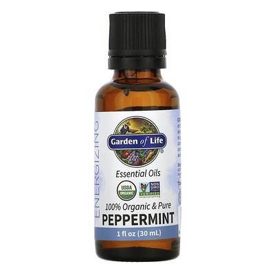 Купить Garden of Life 100% Organic & Pure, Essential Oils, Energizing, Peppermint, 1 fl oz (30 ml)