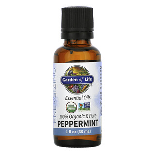 Garden of Life, 100% Organic & Pure, Essential Oils, Energizing, Peppermint, 1 fl oz (30 ml)