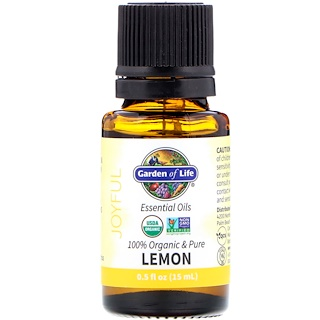Garden of Life, 100% Organic & Pure, Essential Oils, Joyful, Lemon, 0.5 fl oz (15 ml)