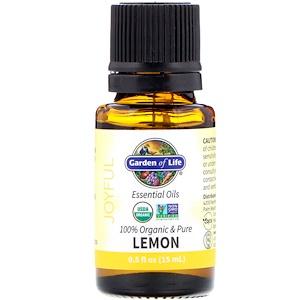 Гарден оф Лайф, 100% Organic & Pure, Essential Oils, Joyful, Lemon, 0.5 fl oz (15 ml) отзывы