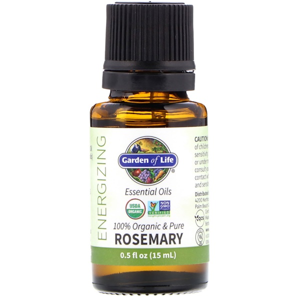 100% Organic & Pure, Essential Oils, Energizing, Rosemary, 0.5 fl oz (15 ml)