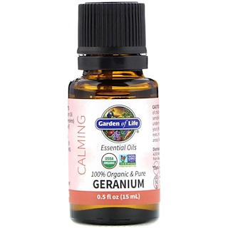 Garden of Life, 100% Organic & Pure, Essential Oils, Calming, Geranium, 0.5 fl oz (15 ml)