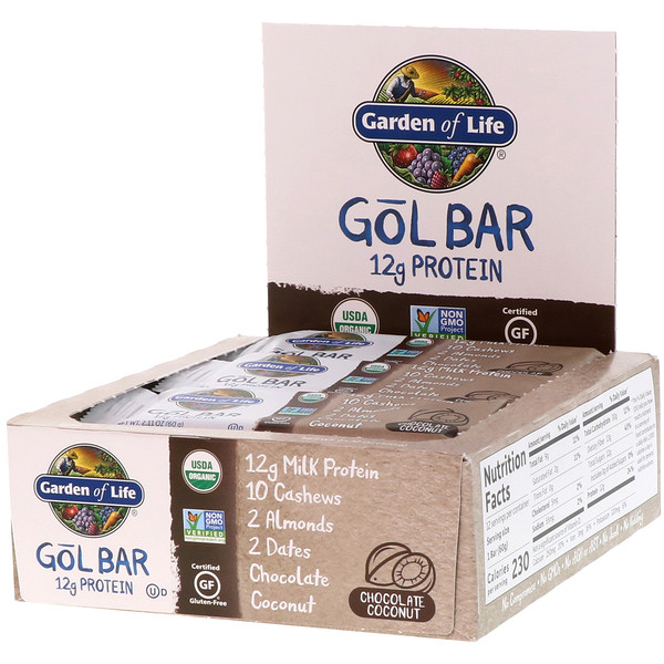 Garden of Life, GOL Bars, Chocolate Coconut, 12 Bars, 2.11 oz (60 g) Each (Discontinued Item)