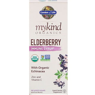 Garden of Life, MyKind Organics, Elderberry Immune Syrup, 6.59 fl oz (195 ml)