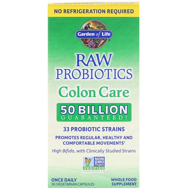 Garden of Life, RAW Probiotics, Colon Care, 30 Vegetarian Capsules