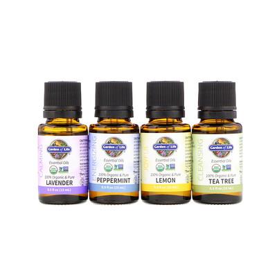 Купить Garden of Life Organic Essential Oil Starter Pack, Lavender, Peppermint, Lemon, Tea Tree, 4 Bottles, 0.5 fl oz (15 ml) Each