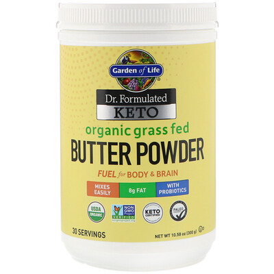 Купить Garden of Life Dr. Formulated Keto, Organic Grass Fed Butter Powder, 10.58 oz (300 g)