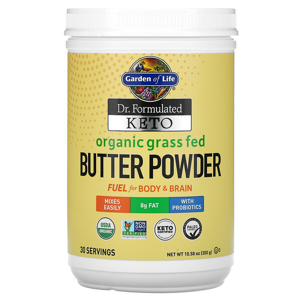 Garden of Life, Dr. Formulated Keto, Organic Grass Fed Butter Powder, 10.58 oz (300 g)