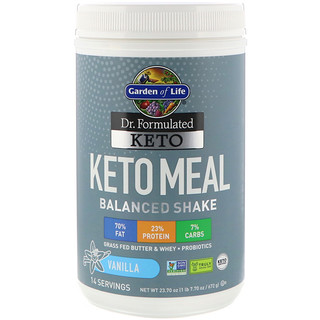 Garden of Life, Dr. Formulated Keto Meal Balanced Shake, Vanilla, 1.48 lbs (672 g)