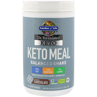 Garden of Life, Dr. Formulated Keto Meal Balanced Shake, Chocolate, 1.54 lbs (700 g)