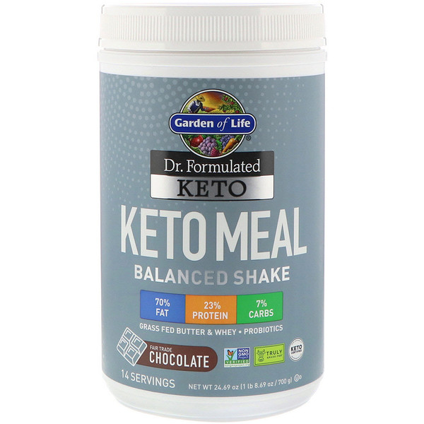 Dr. Formulated Keto Meal Balanced Shake, Chocolate, 1.54 lbs (700 g)