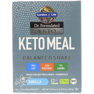 Garden of Life, Dr. Formulated Keto Meal Balanced Shake, Vanilla, 10 Packets, 1.69 (48 g) Each