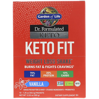 Garden of Life, Dr. Formulated Keto Fit Weight Loss Shake, Vanilla, 10 Packets, 1.25 oz (35.5 g) Each