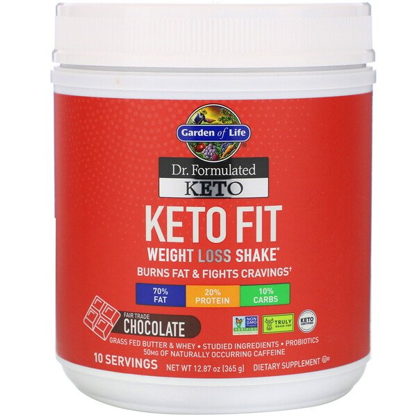 Dr. Formulated Keto Fit Weight Loss Shake, Fair Trade Chocolate, 12.87 oz (365 g)