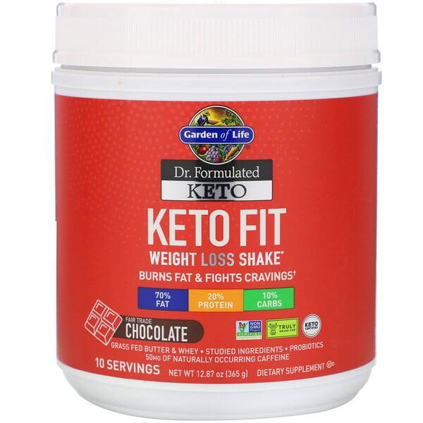 Dr. Formulated, שייק קטוגני לירידה במשקל, בטעם שוקולד מיוצר תחת תנאי סחר הוגן, 365 גרם (12.87 אונקיות)