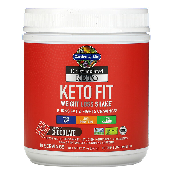 Dr. Formulated Keto Fit Weight Loss Shake, Chocolate, 12.87 oz (365 g)