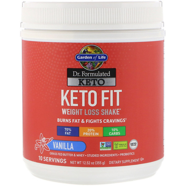 Garden of Life, Dr. Formulated Keto Fit Weight Loss Shake, Vanilla 12.52 oz (355 g)