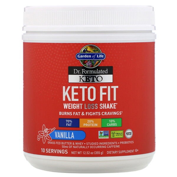 Dr. Formulated Keto Fit Weight Loss Shake, Vanilla, 12.52 oz (355 g)