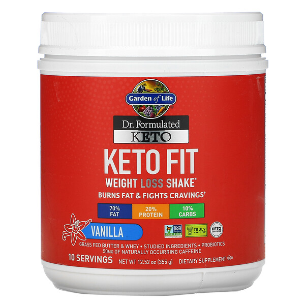 Garden of Life, Dr. Formulated Keto Fit Weight Loss Shake, Vanilla, 12.52 oz (355 g)