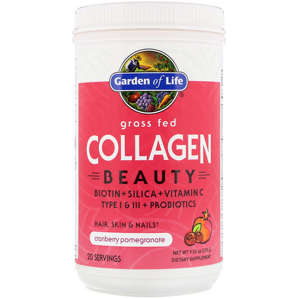 Garden of Life, Grass Fed Collagen Beauty, Cranberry Pomegranate, 9.52 oz (270 g)