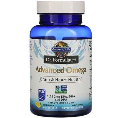 Купить Garden of Life Dr. Formulated, Advanced Omega, Lemon, 60 Softgels
