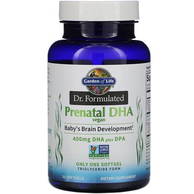 Купить Garden of Life Dr. Formulated, Vegan Prenatal DHA, 400 mg, 30 Softgels