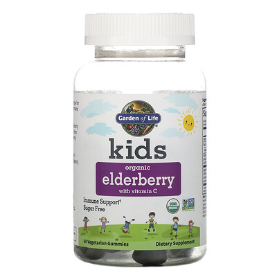 Купить Garden of Life Kids, Organic Elderberry with Vitamin C, 60 Vegetarian Gummies