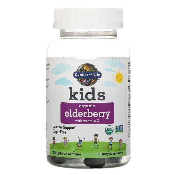 Kids, Organic Elderberry with Vitamin C, 60 Vegetarian Gummies