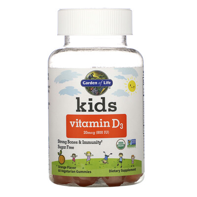 Купить Garden of Life Kids, Vitamin D3, Orange Flavor, 20 mcg (800 IU), 60 Vegetarian Gummies
