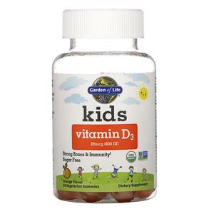 Гарден оф Лайф, Kids, Vitamin D3, Orange Flavor, 20 mcg (800 IU), 60 Vegetarian Gummies отзывы покупателей