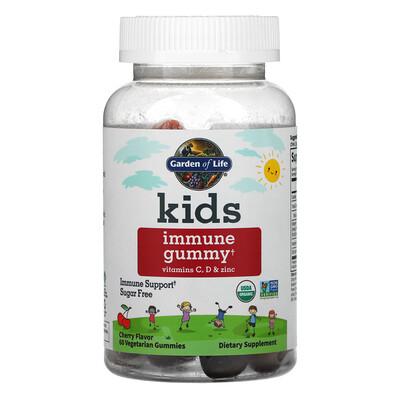 Garden of Life Kid's Immune Gummy + Vitamin C, D & Zinc, Cherry , 60 Vegetarian Gummies