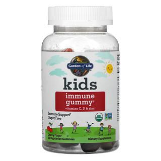 Garden of Life, детские жевательные таблетки для поддержки иммунитета, с витаминамиC, D и цинком, вишня, 60вегетарианских жевательных таблеток