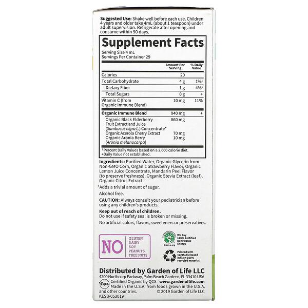 Kids, Organic Elderberry Immune Syrup with Aronia Berry and Vitamin C, 3.9 fl oz (116 ml)