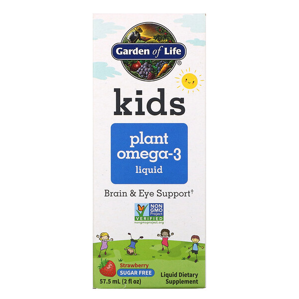 Kids Plant Omega-3 Liquid, Strawberry , 2 fl oz (57.5 ml)