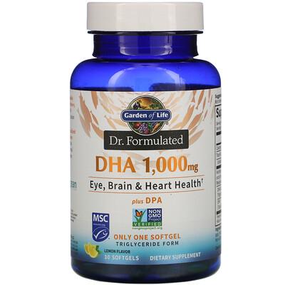 Купить Garden of Life Dr. Formulated, DHA, Lemon, 1, 000 mg, 30 Softgels