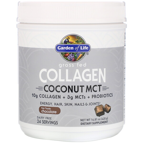 Grass Fed Collagen, Coconut MCT, Chocolate, 14.81 oz (420 g)