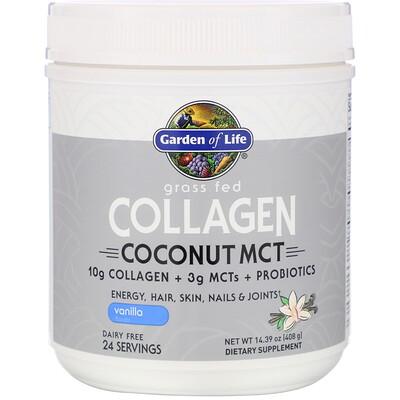 Купить Garden of Life Grass Fed Collagen, Coconut MCT, Vanilla, 14.39 oz (408 g)