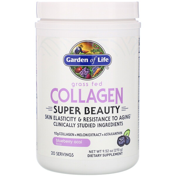 Grass Fed Collagen, Super Beauty, Blueberry Acai, 9.52 oz (270 g)