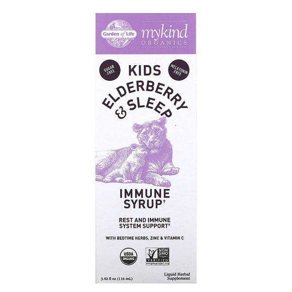 Garden of Life, Mykind Organics, Kids Elderberry & Sleep, Immune Syrup with Bedtime Herbs, Zinc & Vitamin C, 3.92 fl oz ( 116 ml)
