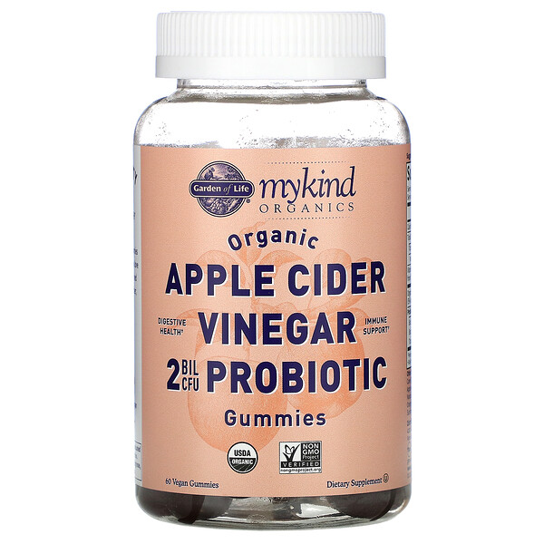 MyKind Organics, Organic Apple Cider Vinegar Probiotic Gummies, 2 Bil CFU, 60 Vegan Gummies