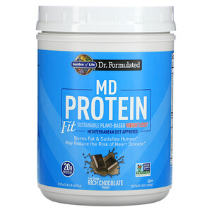 Garden of Life, MD Protein, Fit Sustainable Plant-Based Weight Loss, Rich Chocolate, 22.39 oz (635 g)