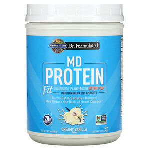 Garden of Life, MD Protein Fit, Sustainable Plant-Based Weight Loss, Creamy Vanilla, 21.34 oz (605 g)