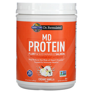 Garden of Life, MD Protein, Plant & Sustainable Salmon, Creamy Vanilla, 22.71 oz (644 g)