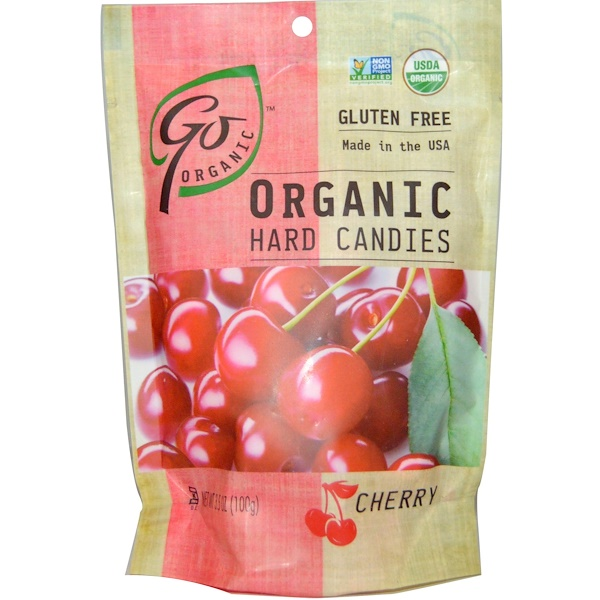 Go Organic, Organic Hard Candies, Cherry, 3.5 oz (100 g)