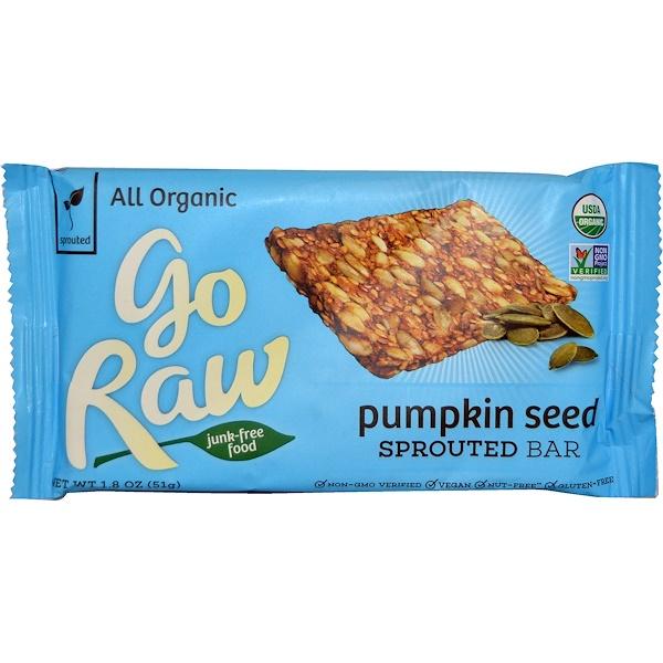 Go Raw, 有機原始食品,南瓜籽發芽棒,1、8 oz (51 g)
