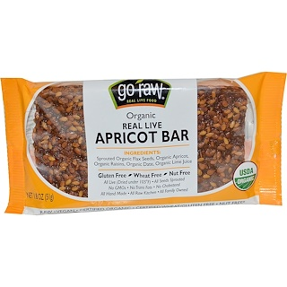 Go Raw, Organic, Real Live Apricot Bar, 1.8 oz (51 g)