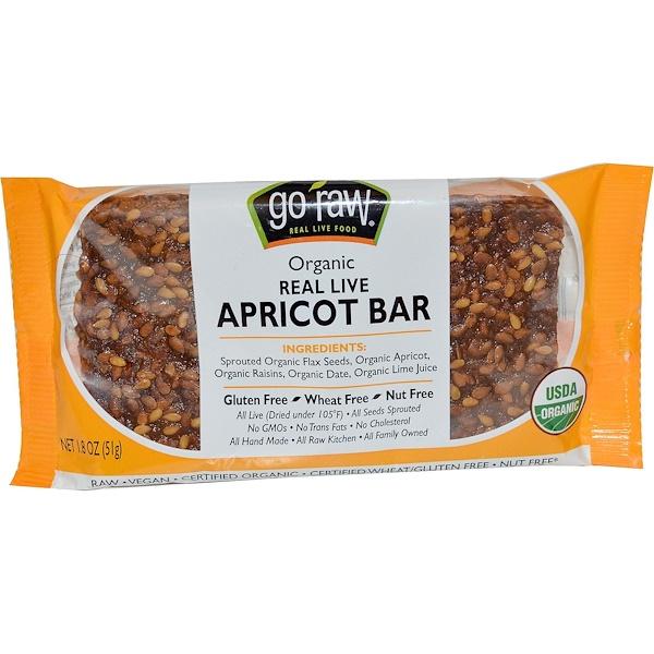 Go Raw, Organic, Real Live Apricot Bar, 1.8 oz (51 g)