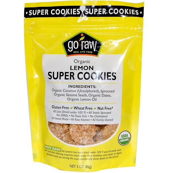 Go Raw, Organic, Super Cookies, Lemon, 3 oz (85 g) (Discontinued Item)
