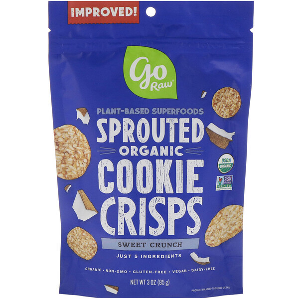 Organic, Sprouted Cookie Crisps, Sweet Crunch, 3 oz (85 g)